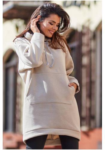 Oteplená dámská mikina béžové barvy s kapucí