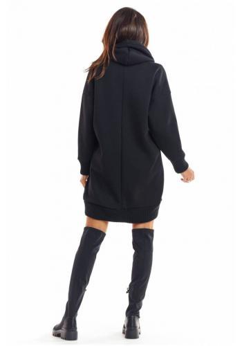 Černá oteplená mikina s kapucí pro dámy