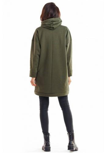 Oteplená dámská mikina kaki barvy s kapucí