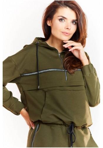 Kaki volná mikina s třpytivým pásem pro dámy