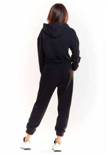 Dámská volná mikina s třpytivým pásem v černé barvě