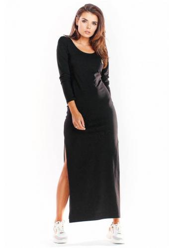 Černé maxi šaty s dlouhým rukávem pro dámy