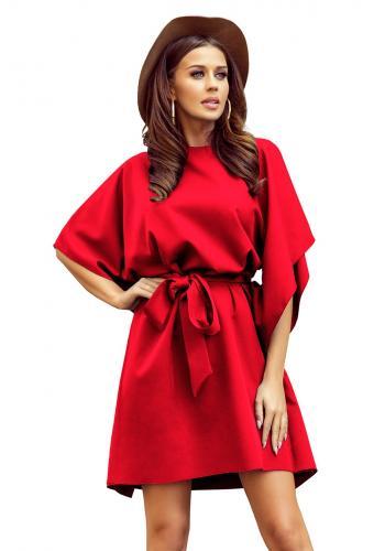 Dámské módní šaty s páskem v červené barvě