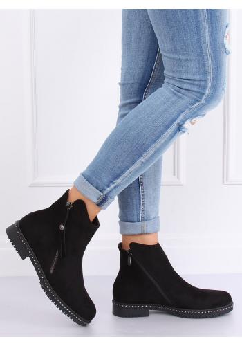 Semišové dámské boty černé barvy se dvěma zipy