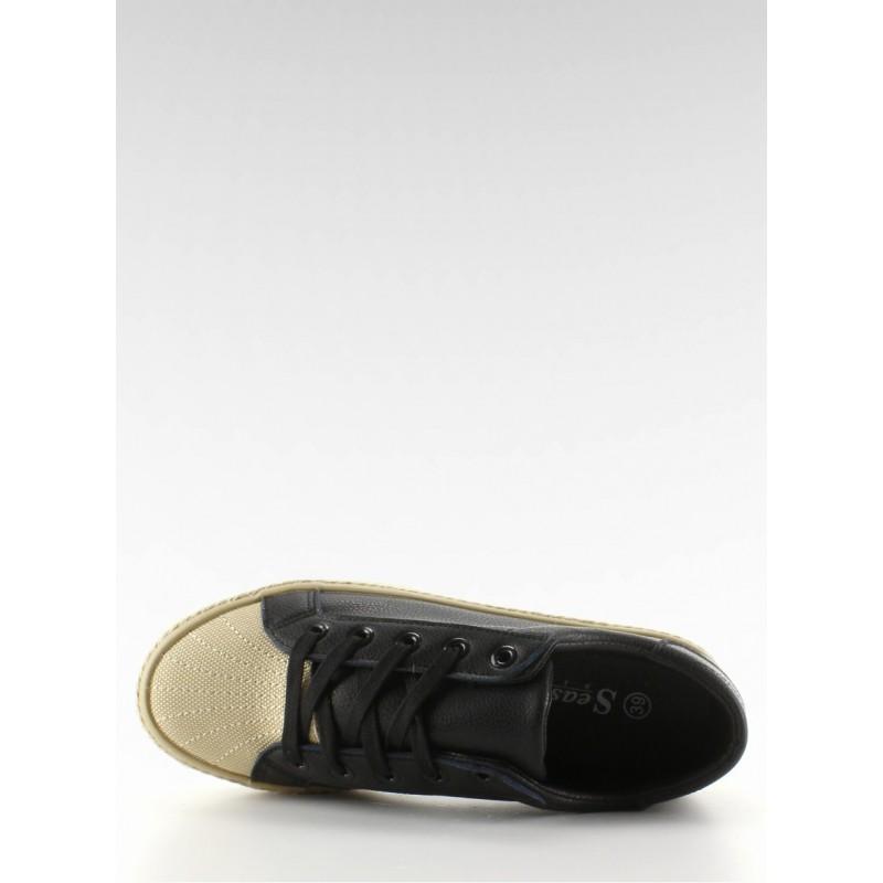 Dámské semišové tenisky černé barvy s bílými prvky
