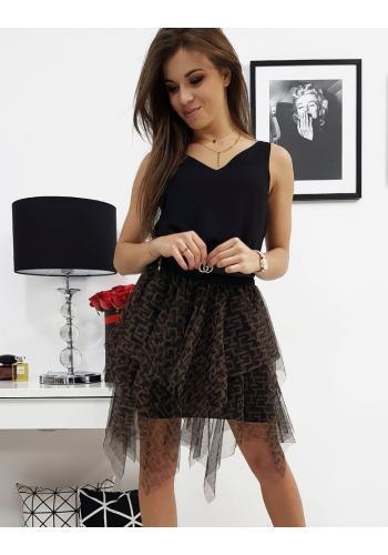 Černá tylová sukně se vzorem pro dámy