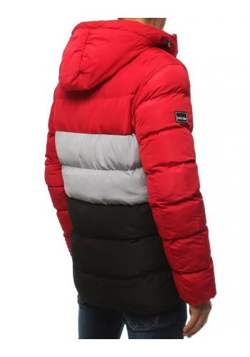 Pánská prošívaná bunda na zimu v červené barvě