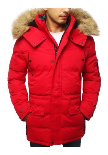 Červená zimní bunda s odepínací kapucí pro pány