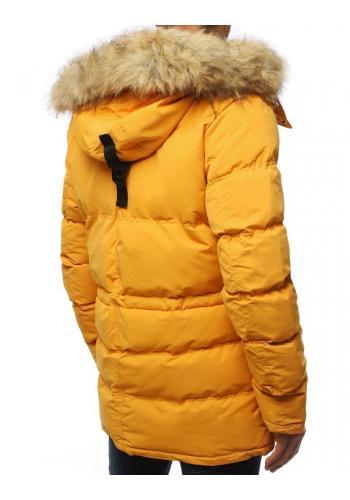 Pánská zimní bunda s odepínací kapucí ve žluté barvě