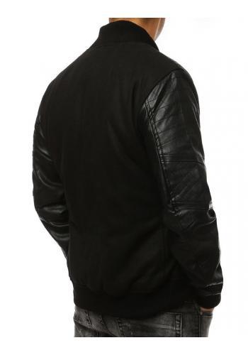 Zimní pánská bunda černé barvy s rukávy z ekokůže