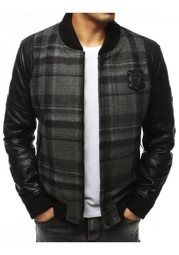 Pánská zimní bunda s rukávy z ekokůže v šedé barvě