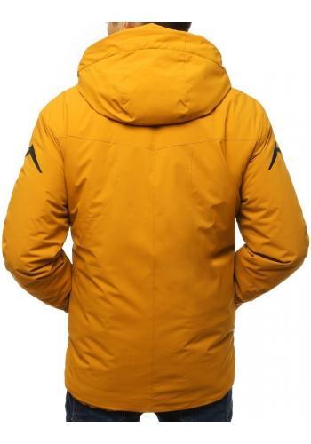 Pánská lyžařská bunda s ozdobným potiskem ve žluté barvě