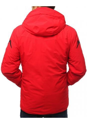 Lyžařská pánská bunda červené barvy s ozdobným potiskem