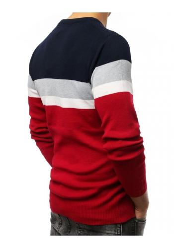 Pánský módní svetr s kontrastními pásy v bordové barvě