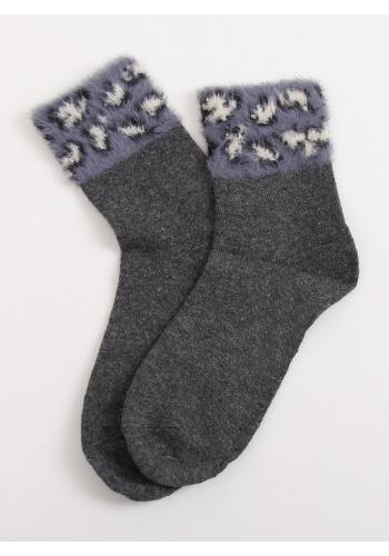Dámské teplé ponožky s kožešinou v šedé barvě