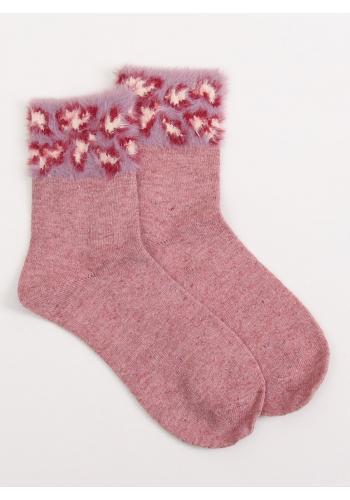 Růžové teplé ponožky s kožešinou pro dámy