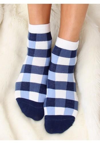Modro-bílé vzorované ponožky pro dámy