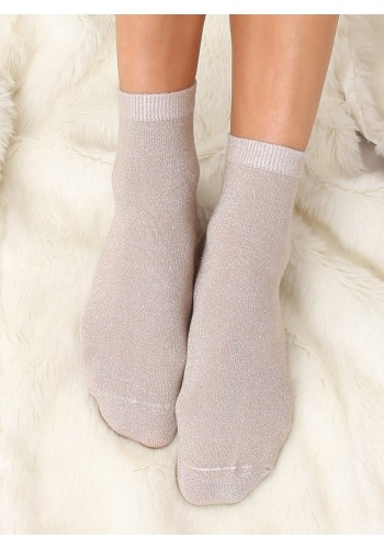 Béžové třpytivé ponožky pro dámy