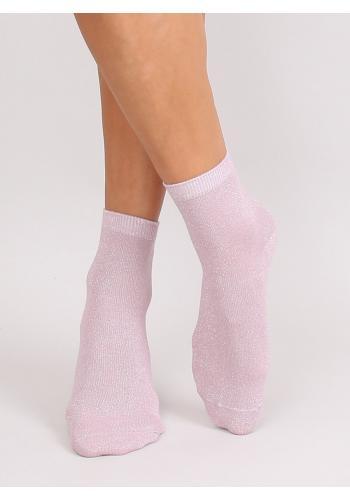 Třpytivé dámské ponožky růžové barvy