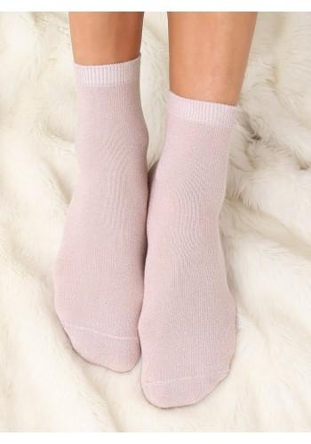 Dámské třpytivé ponožky v práškově růžové barvě