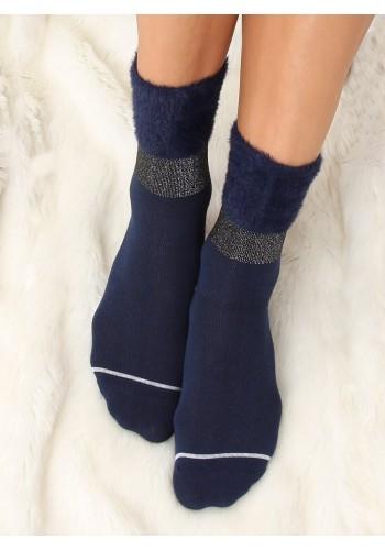 Dámské módní ponožky s kožešinou v tmavě modré barvě
