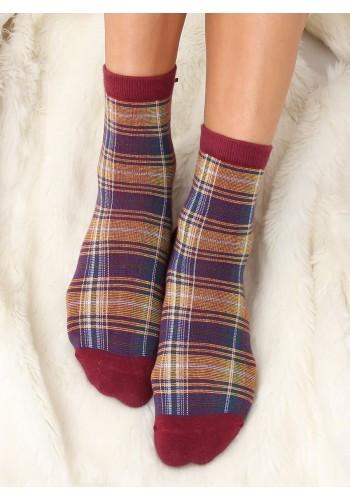 Dámské kárované ponožky s mašlí v bordové barvě