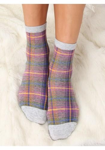 Šedé kárované ponožky s mašlí pro dámy