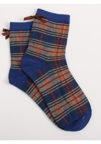 Kárované dámské ponožky tmavě modré barvy s mašlí
