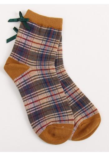 Dámské kárované ponožky s mašlí v hnědé barvě
