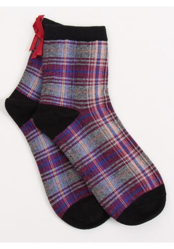Černé kárované ponožky s mašlí pro dámy