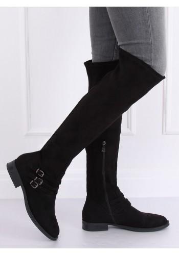 Semišové dámské kozačky nad kolena černé barvy s přezkami