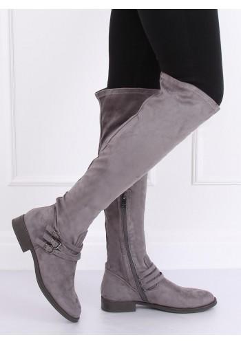 Dámské semišové kozačky nad kolena s přezkami v šedé barvě