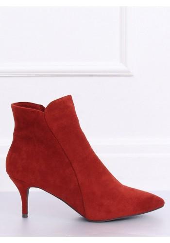 Dámské elegantní boty na nízkém podpatku v cihlové barvě