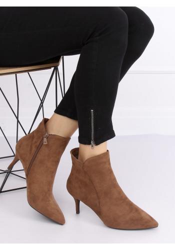 Elegantní dámské boty hnědé barvy na nízkém podpatku