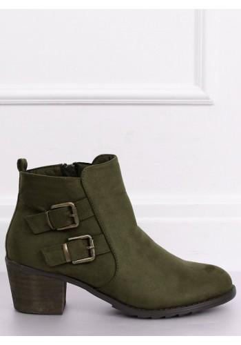 Semišové dámské polobotky zelené barvy na širokém podpatku