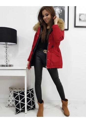 Oboustranná dámská bunda červené barvy s kapucí
