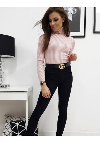 Růžový bavlněný rolák s dlouhým rukávem pro dámy