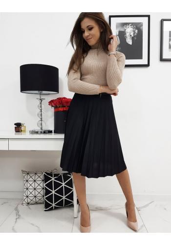 Černá plisovaná sukně pod kolena pro dámy