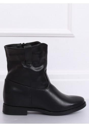 Černé stylové kozačky na skrytém podpatku pro dámy