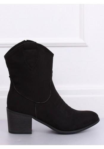 Černé semišové kovbojky na širokém podpatku pro dámy