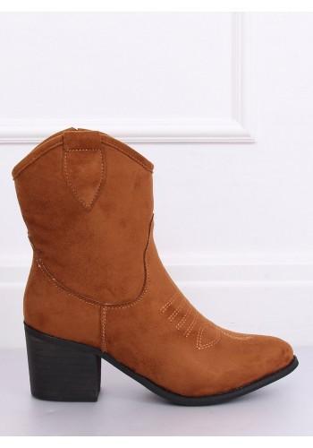 Semišové dámské kovbojky hnědé barvy na širokém podpatku