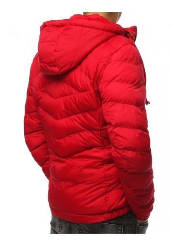 Červená prošívaná bunda na zimu pro pány