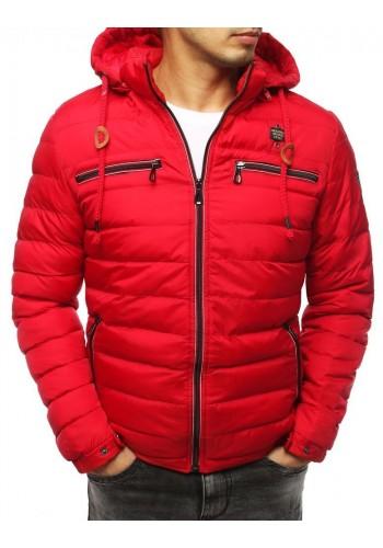 Prošívané pánské bundy červené barvy na zimu