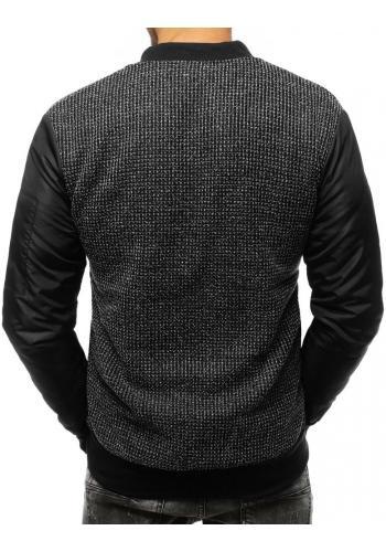 Oteplená pánská mikina černé barvy bez kapuce