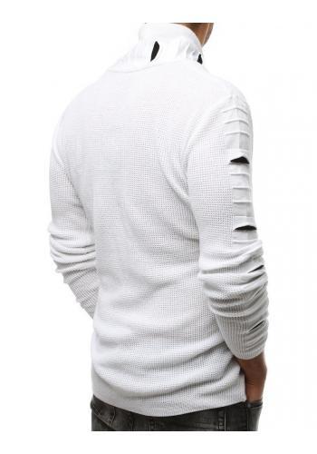 Bílý vlněný svetr s límcem na zip pro pány