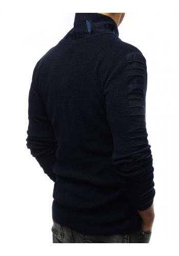 Vlněný pánský svetr tmavě modré barvy s límcem na zip