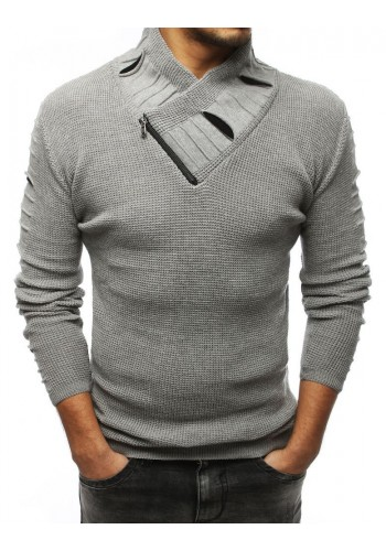 Šedý vlněný svetr s límcem na zip pro pány