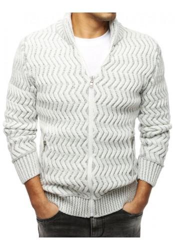 Pánský hrubý svetr se zapínáním na zip v bílé barvě