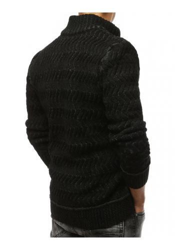 Hrubý pánský svetr černé barvy se zapínáním na zip