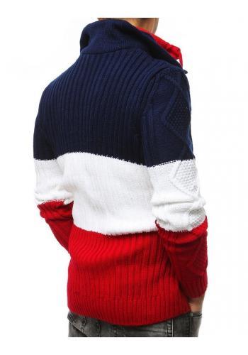 Pánský vlněný svetr se zapínacím límcem v tříbarevném provedení
